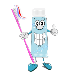 Toothpaste Character Holding Toothbrush
